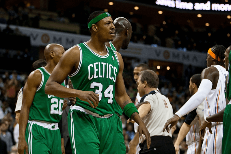 7 February 2011: Boston Celtics small forward Paul Pierce (34) is restrained by teammates against the Charlotte Bobcats during an NBA basketball game at Time Warner Cable Arena in Charlotte, North Carolina on February 7, 2011