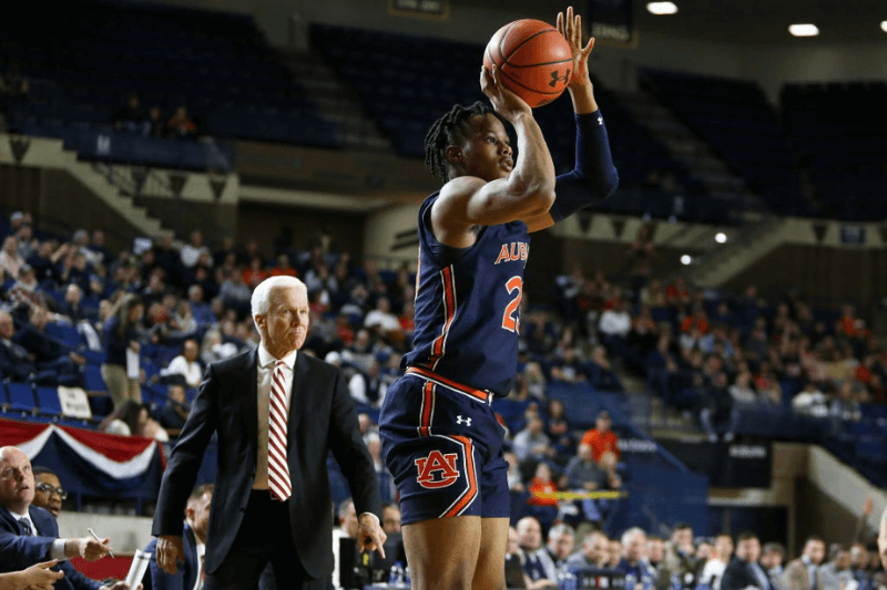 ANNAPOLIS, MD - NOVEMBER 08: Auburn Tigers forward Isaac Okoro (23) in action during a college basketball game between the Auburn Tigers and Davidson Wildcats on November 08, 2019, at Alumni Hall in Annapolis, MD