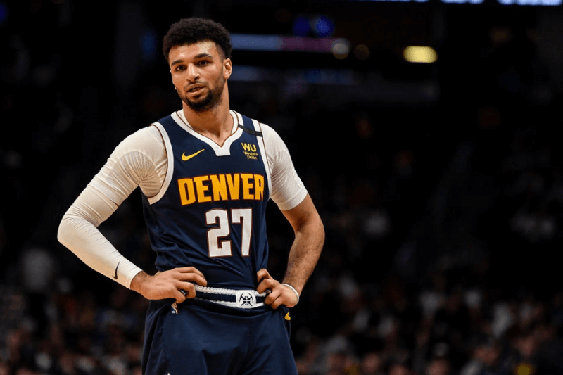 DENVER, CO - MARCH 3: Jamal Murray (27) of the Denver Nuggets reacts tho his team's poor play late in the fourth quarter of Golden State's 116-100 win on Tuesday, March 3, 2020.