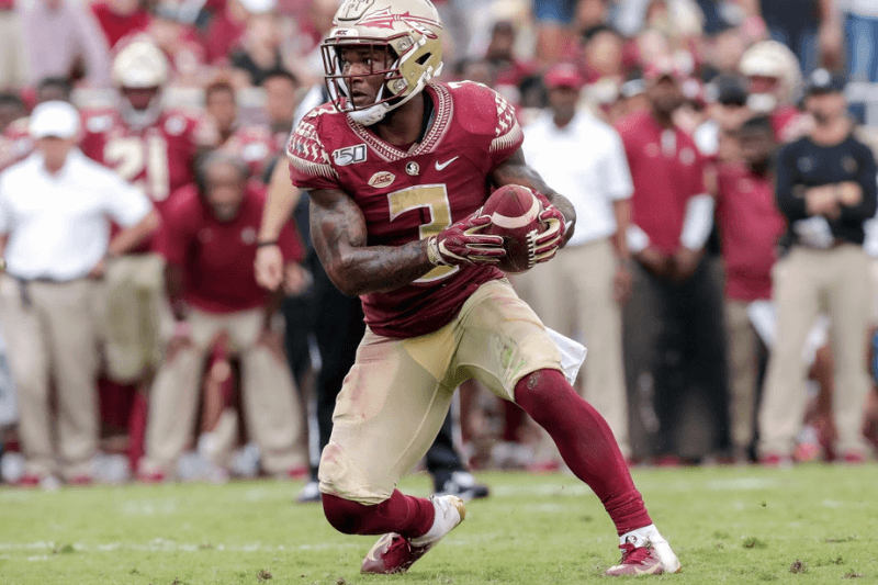 TALLAHASSEE, FL - OCTOBER 26: Runningback Cam Akers #3 of the Florida State Seminoles on a running play during the game against the Syracuse Orange at Doak Campbell Stadium on Bobby Bowden Field on October 26, 2019 in Tallahassee, Florida. The Seminoles defeated the Orange 35 to 17.