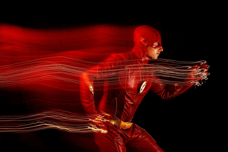 NEW YORK, NY - OCTOBER 06: (EDITORS NOTE: Exposure effect made in camera to produce this image.) A cosplayer poses as The Flash during New York Comic Con 2018 at Javits Center on October 6, 2018 in New York City.