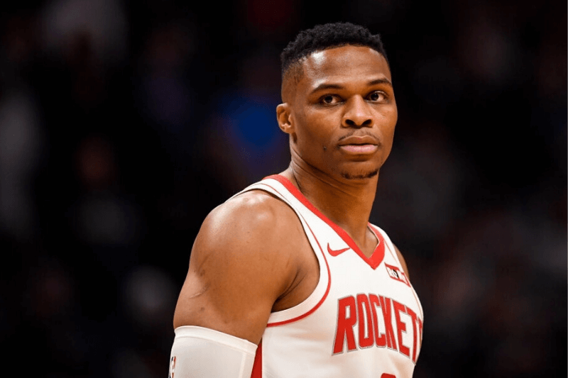 DENVER, CO - NOVEMBER 20: Russell Westbrook (0) of the Houston Rockets stands on the court against the Denver Nuggets during the first quarter on Wednesday, November 20, 2019.