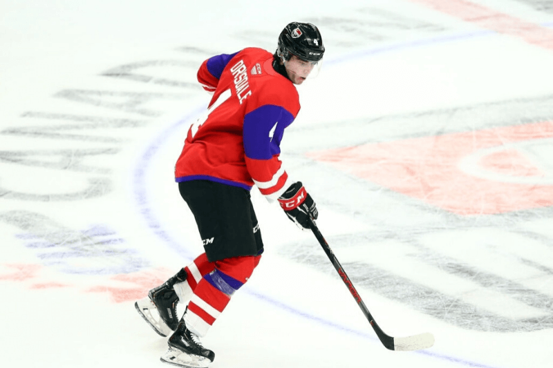 HAMILTON, ON - JANUARY 16: Jamie Drysdale #4 of Team Red skates during the 2020 CHL/NHL Top Prospects Game against Team White at FirstOntario Centre on January 16, 2020 in Hamilton, Canada.