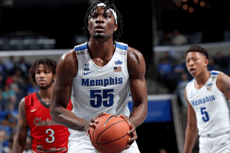 MEMPHIS, TN - OCTOBER 24: Precious Achiuwa #55 of the Memphis Tigers shoots a free throw against the Christian Brothers Buccaneers during an exhibition game on October 24, 2019 at FedExForum in Memphis, Tennessee. Memphis defeated Christian Brothers 86-53.