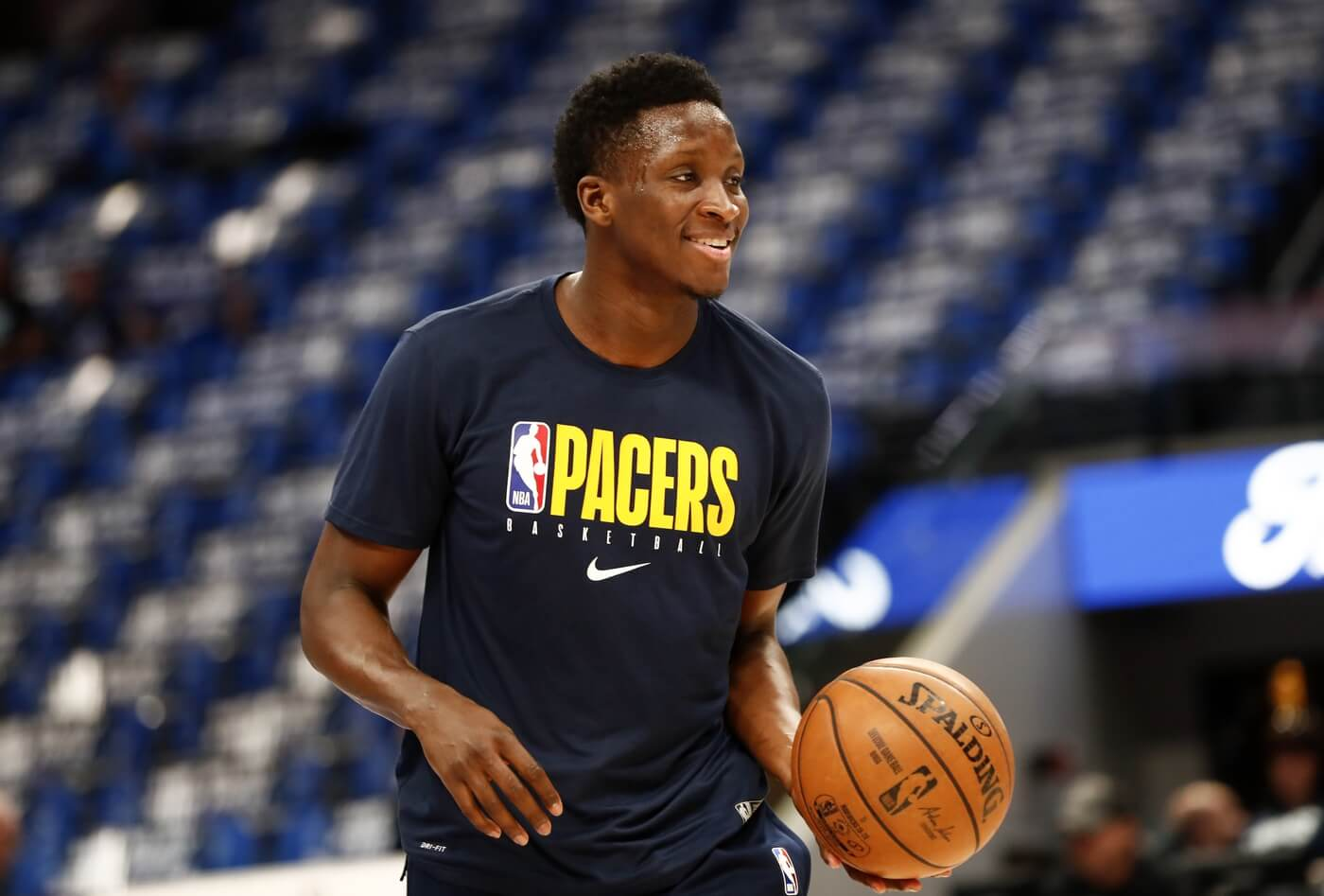 Mar 8, 2020; Dallas, Texas, USA; Indiana Pacers guard Victor Oladipo (4) warms up before the game against the Dallas Mavericks at American Airlines Center.