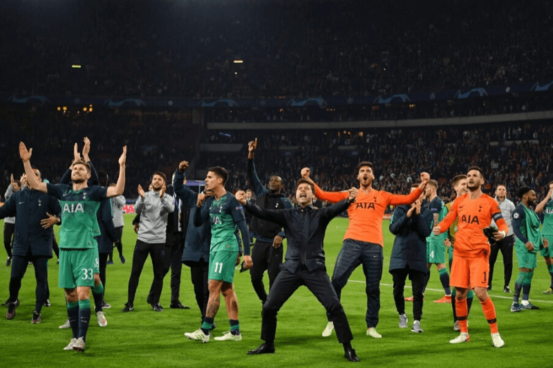 AMSTERDAM, NETHERLANDS - MAY 08: Mauricio Pochettino, Manager of Tottenham Hotspur celebrates victory after the UEFA Champions League Semi Final second leg match between Ajax and Tottenham Hotspur at the Johan Cruyff Arena on May 08, 2019 in Amsterdam, Netherlands.