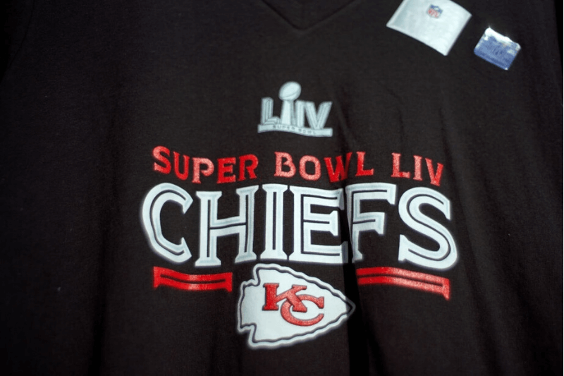 MIAMI GARDENS, FL - FEBRUARY 02: A general view of Super Bowl LIV merchandise is seen with Kansas City Chiefs logo in game action during the Super Bowl LIV game between the Kansas City Chiefs and the San Francisco 49ers on February 2, 2020 at Hard Rock Stadium, in Miami Gardens, FL.