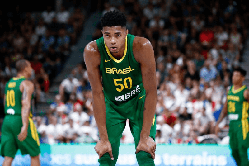 VILLEURBANNE, FRANCE - AUGUST 16: Bruno Caboclo #50 of Brazil looks on during the International Friendly match between France and Brazil at The Astroballe on August 16, 2019 in Villeurbanne, France