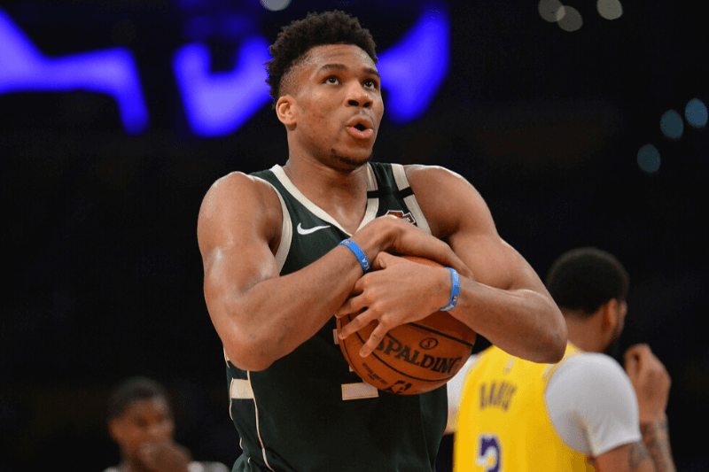 March 6, 2020; Los Angeles, California, USA; Milwaukee Bucks forward Giannis Antetokounmpo (34) reacts against the Los Angeles Lakers during the second half at Staples Center.