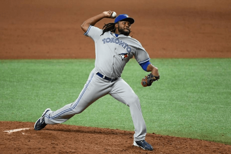 ST PETERSBURG, FLORIDA - JULY 24: Rafael Dolis #41 of the Toronto Blue Jays throws a pitch during the eighth inning against the Tampa Bay Rays on Opening Day at Tropicana Field on July 24, 2020 in St Petersburg, Florida. The 2020 season had been postponed since March due to the COVID-19 pandemic.