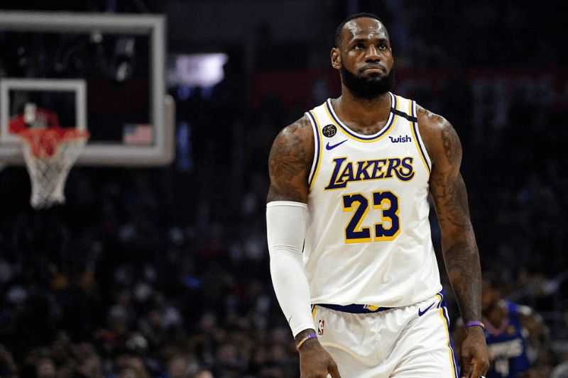 Mar 8, 2020; Los Angeles, California, USA; Los Angeles Lakers forward LeBron James (23) looks on in the first half against the LA Clippers at Staples Center