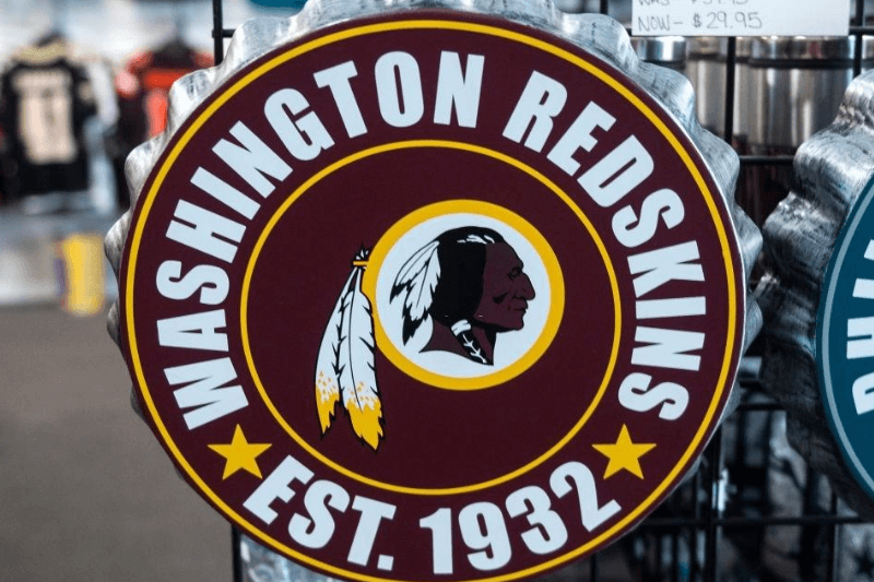 Washington Redskins merchandise is seen for sale at a sports store in Fairfax, Virginia on July 13, 2020. - The Washington Redskins confirmed on July 13 that the team is changing its name following pressure from sponsors over a word widely criticized as a racist slur against Native Americans