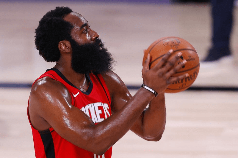Aug 2, 2020; Lake Buena Vista, USA; James Harden #13 of the Houston Rockets shoots against the Milwaukee Bucks at The Arena at ESPN Wide World Of Sports Complex on August 02, 2020 in Lake Buena Vista, Florida