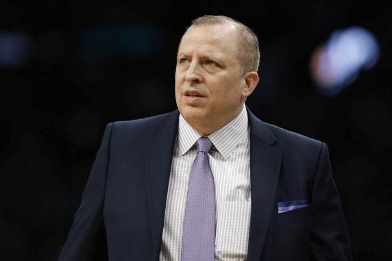 Jan 2, 2019; Boston, MA, USA; Minnesota Timberwolves head coach Tom Thibodeau reacts during the first half against the Boston Celtics at TD Garden.