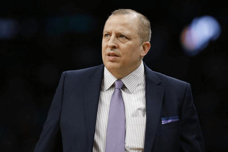 Jan 2, 2019; Boston, MA, USA; Minnesota Timberwolves head coach Tom Thibodeau reacts during the first half against the Boston Celtics at TD Garden.