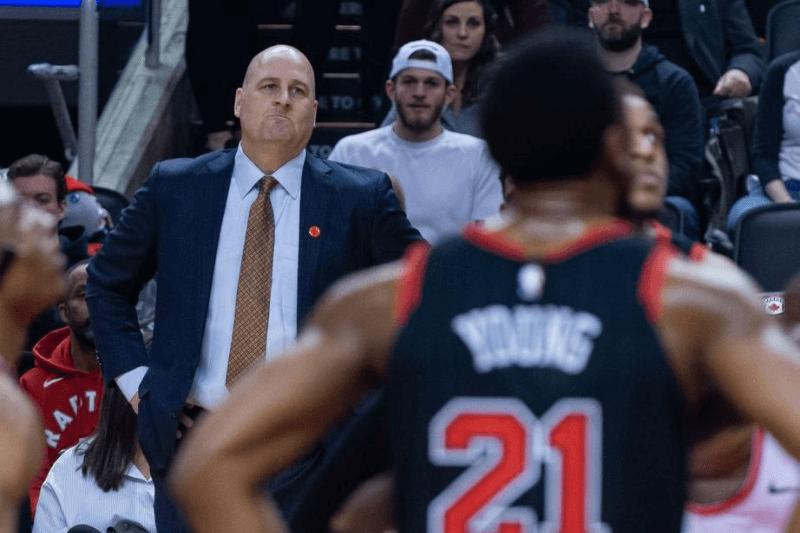 Head coach of Chicago Bull Jim Boylen looks on during the Toronto Raptors vs Chicago Bulls NBA regular season game at Scotiabank Arena on February 02, 2020 in Toronto, Canada (Toronto Raptors won 129-102)