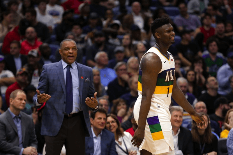 Feb 11, 2020; New Orleans, Louisiana, USA; New Orleans Pelicans forward Zion Williamson (1) and head coach Alvin Gentry react during the second quarter against the Portland Trail Blazers at the Smoothie King Center
