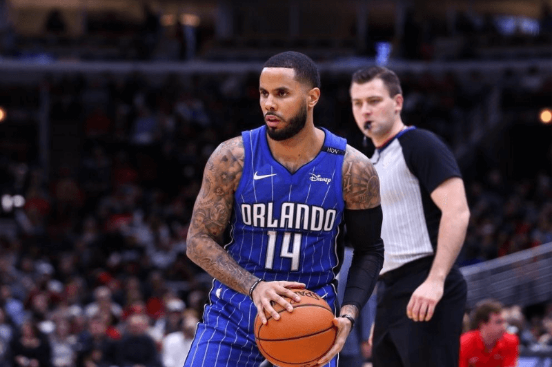 CHICAGO, USA - DECEMBER 20: D. J. Augustin (14) of Orlando Magic in action during an NBA basketball match between Chicago Bulls and Orlando Magic at United Center in Chicago, Illinois, United States on December 20, 2017.
