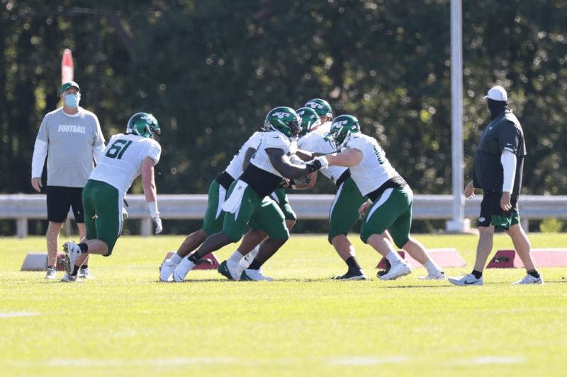 Aug 20, 2020; Florham Park, New Jersey, USA; New York Jets offensive linemen participate in drills during training camp at Atlantic Health Center.