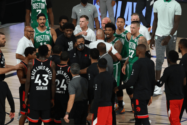 Sep 9, 2020; Lake Buena Vista, Florida, USA; Boston Celtics guard Marcus Smart (36) talks with the Toronto Raptors after the game in game six of the second round of the 2020 NBA Playoffs at ESPN Wide World of Sports Complex. Mandatory Credit: Kim Klement-USA TODAY Sports