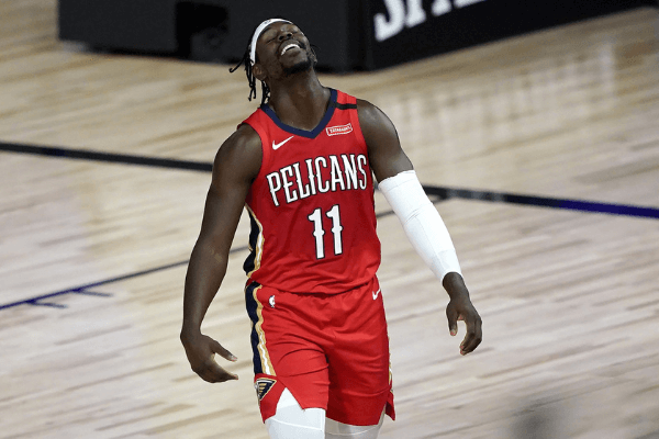 August 6, 2020; Lake Buena Vista, Florida, USA; New Orleans Pelicans' Jrue Holiday reacts during the first half of an NBA basketball game against the Sacramento Kings at HP Field House. Mandatory Credit: Ashley Landis/Pool Photo-USA TODAY Sports