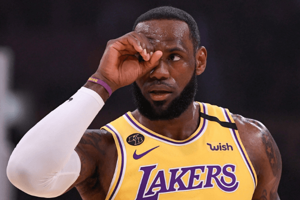 Feb 21, 2020; Los Angeles, California, USA; Los Angeles Lakers forward LeBron James (23) gestures to a referee after a foul call during the first quarter against the Memphis Grizzlies at Staples Center. Mandatory Credit: Robert Hanashiro-USA TODAY Sports