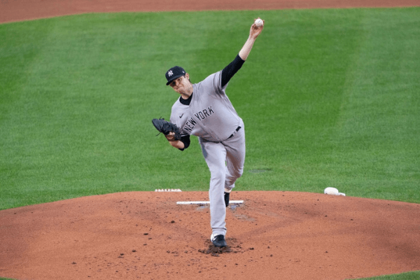 BUFFALO, NY - SEPTEMBER 07: New York Yankees Pitcher Jordan Montgomery (47) delivers a pitch during the first inning of the Major League Baseball game between the New York Yankees and the Toronto Blue Jays on September 7, 2020, at Sahlen Field in Buffalo, NY.