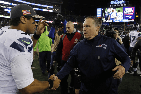 Nov 13, 2016; Foxborough, MA, USA; New England Patriots head coach Bill Belichick greets Seattle Seahawks quarterback Russell Wilson (3) after the game at Gillette Stadium. Seattle Seahawks defeated the Patriots 31-24.