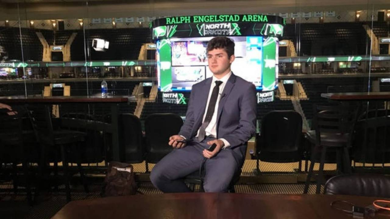 Mitchell Miller awaits words that the Arizona Coyotes selected him in the 2020 NHL Draft.