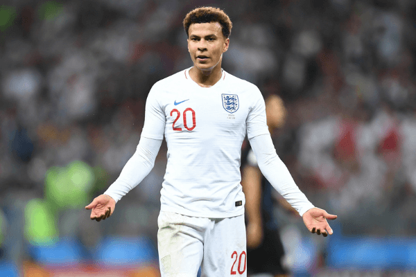 July 11, 2018; Moscow, Russia; England midfielder Dele Alli (20) reacts during game action against Croatia in the semifinals of the FIFA World Cup 2018 at Saint Petersburg Stadium. Mandatory Credit: Tim Groothuis/Witters Sport via USA TODAY Sports
