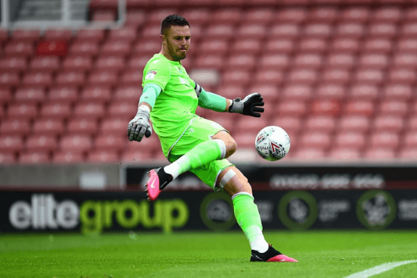 STOKE ON TRENT, ENGLAND - JULY 04: Stoke City's Jack Butland in action during the Sky Bet Championship match between Stoke City and Barnsley at Bet365 Stadium on July 4, 2020 in Stoke on Trent, England.