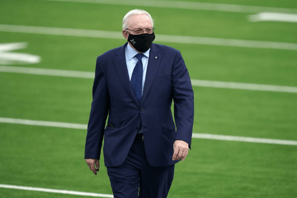 Sep 13, 2020; Inglewood, California, USA; Dallas Cowboys owner Jerry Jones walks on the field before the game against the Los Angeles Rams at SoFi Stadium.