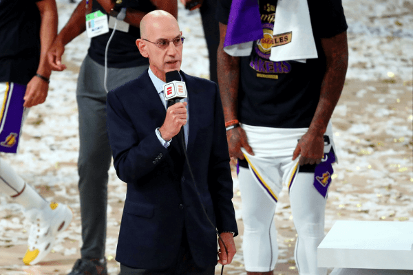 Oct 11, 2020; Lake Buena Vista, Florida, USA; NBA Commissioner Adam Silver during the trophy presentation after game six of the 2020 NBA Finals between the Los Angeles Lakers and the Miami Heat at AdventHealth Arena. The Los Angeles Lakers won 106-93 to win the series.
