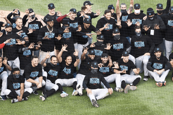 Oct 2, 2020; Chicago, Illinois, USA; The Miami Marlins pose for a photo after defeating the Chicago Cubs in game two of a Wild Card playoff baseball game at Wrigley Field.