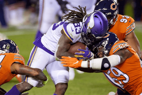 Minnesota Vikings running back Dalvin Cook (33) battles with Chicago Bears inside linebacker Danny Trevathan (59) in action during a NFL game between the Minnesota Vikings and the Chicago Bears on November 16, 2020 at Soldier Field, in Chicago, IL.