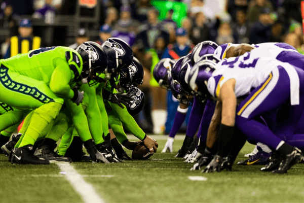 Seattle Seahawks offense and Minnesota Vikings defense at the line of scrimmage before a field goal attempt during the NFL regular season football game on Monday, Dec, 10, 2019 at CenturyLink Field in Seattle, WA.