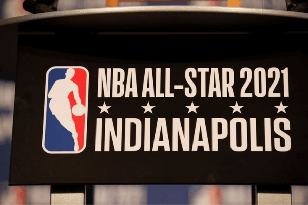 Signage announcing the 2021 NBA All-Star game in Indianapolis before the game between the Oklahoma City Thunder and Indiana Pacers on December 13, 2017 at Bankers Life Fieldhouse in Indianapolis, Indiana.