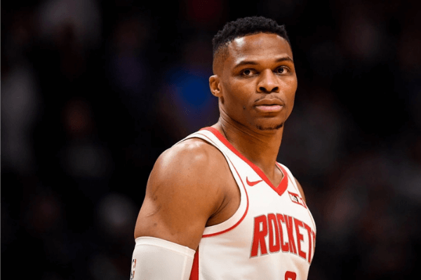 Russell Westbrook (0) of the Houston Rockets stands on the court against the Denver Nuggets during the first quarter on Wednesday, November 20, 2019.