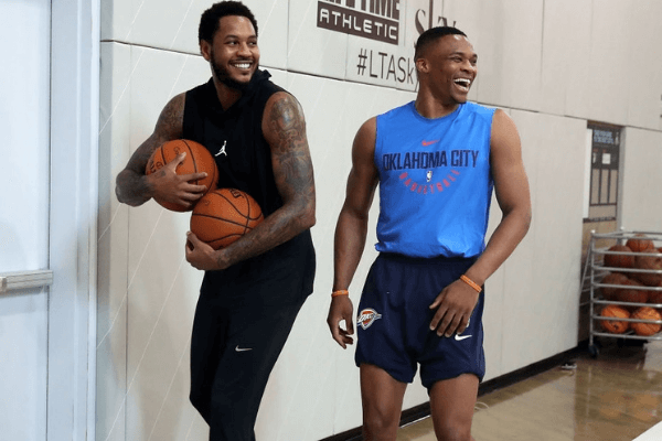 Carmelo Anthony and Russell Westbrook attend Black Ops Basketball Session at Life Time Athletic At Sky on September 11, 2017 in New York City.