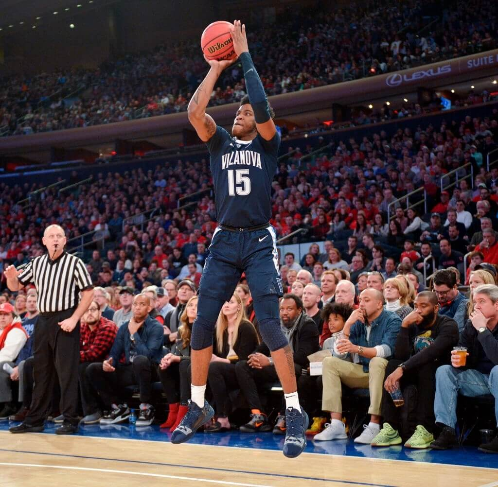 NEW YORK, NY - FEBRUARY 17: Saddiq Bey #15 of the Villanova Wildcats shoots against the St. John's Red Storm at Madison Square Garden on February 17, 2019 in New York City.