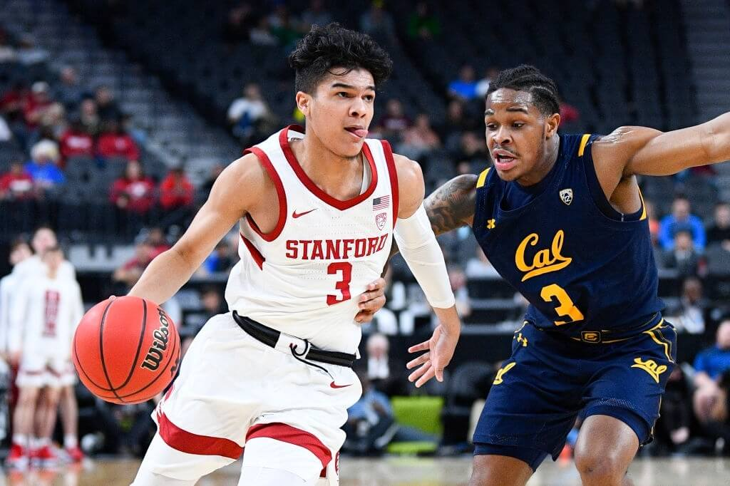 Stanford Cardinal guard Tyrell Terry (3) drives to the basket against California Golden Bears guard Paris Austin (3) during the first round game of the men's Pac-12 Tournament between the Stanford Cardinal and the California Bears on March 11, 2020, at the T-Mobile Arena in Las Vegas, NV.