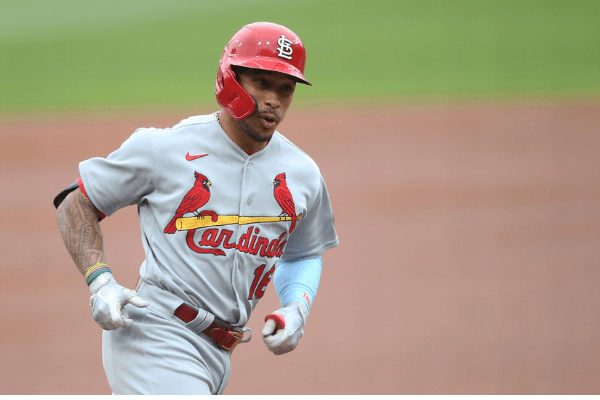 Sep 18, 2020; Pittsburgh, Pennsylvania, USA; St. Louis Cardinals second baseman Kolten Wong (16) circles the bases on a solo home run against the Pittsburgh Pirates during the first inning at PNC Park.
