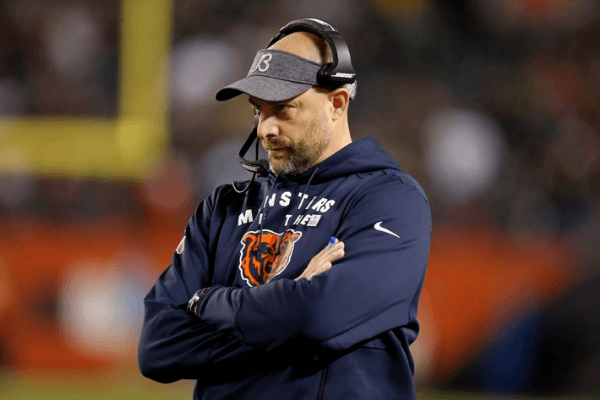 Head coach Matt Nagy of the Chicago Bears watches the action during the second half against the New Orleans Saints at Soldier Field on October 20, 2019 in Chicago, Illinois.
