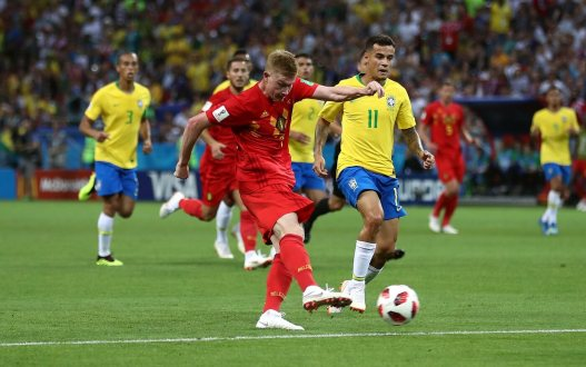 July 6, 2018; Kazan, Russia; Belgium player Kevin De Bruyne scores a goal against Brazil in the quarterfinals during the FIFA World Cup 2018 at Kazan Stadium. Mandatory Credit: PA Images/Sipa USA via USA TODAY Sports