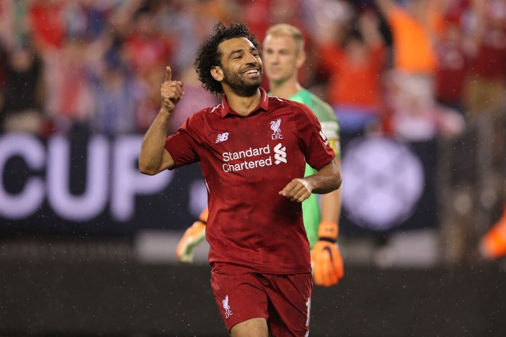 Jul 25, 2018; East Rutherford, NJ, USA; Liverpool forward Mohamed Salah (11) celebrates his goal against Manchester City during the second half of an International Champions Cup soccer match at MetLife Stadium. Mandatory Credit: Brad Penner-USA TODAY Sports