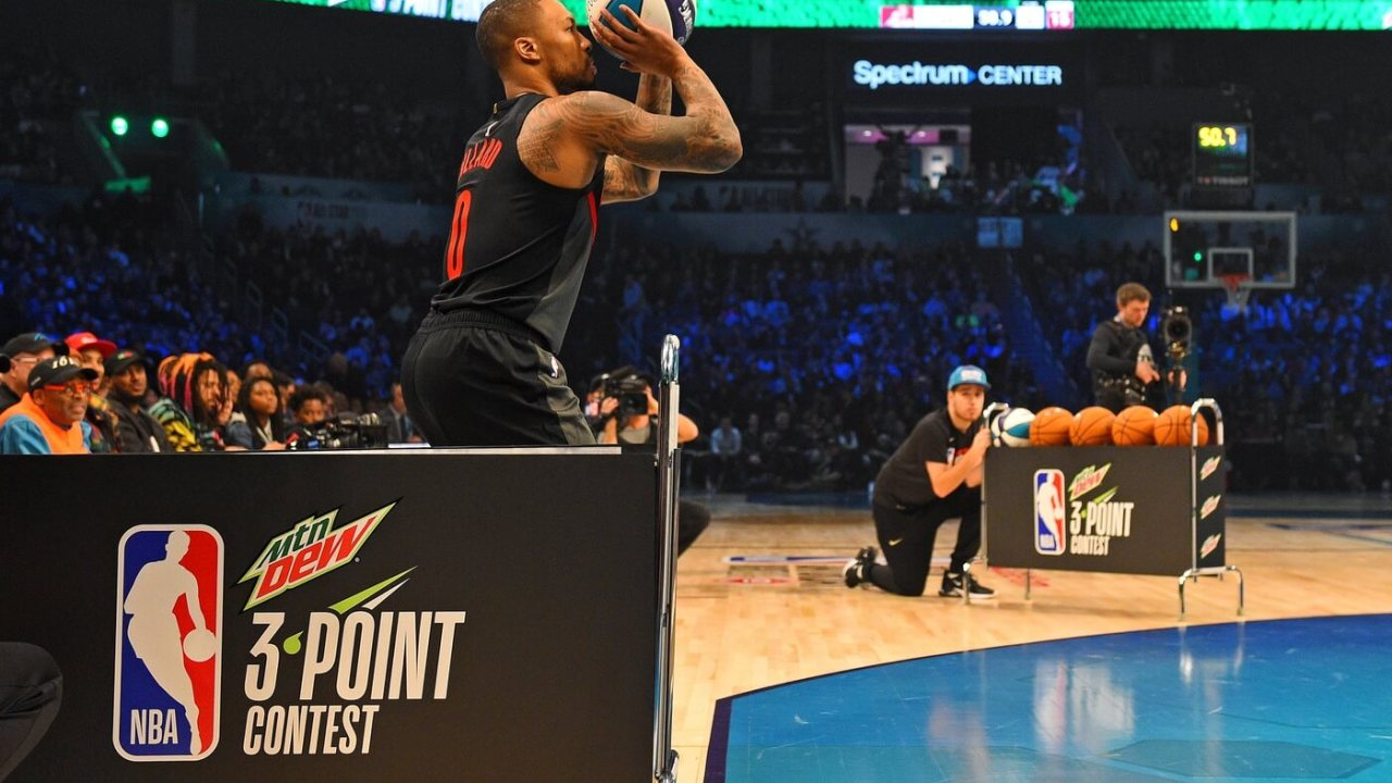 Feb 16, 2019; Charlotte, NC, USA; Portland Trailblazers guard Damian Lillard in the 3-Point Contest during the NBA All-Star Saturday Night at Spectrum Center. Mandatory Credit: Bob Donnan-USA TODAY Sports