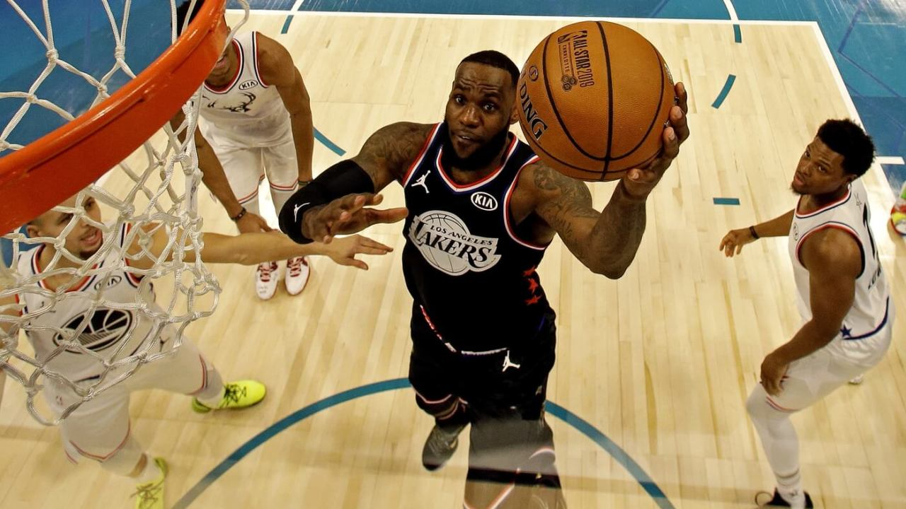 Feb 17, 2019; Charlotte, NC, USA; Team Lebron forward Lebron James of the Los Angeles Lakers (23) shoots the ball against Team Giannis guard Kyle Lowry of the Toronto Raptors (7) during the 2019 NBA All-Star Game at Spectrum Center.
