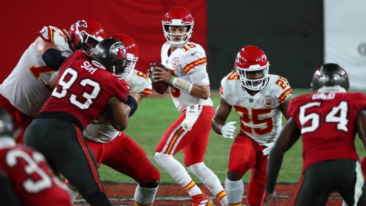Nov 29, 2020; Tampa, Florida, USA; Kansas City Chiefs quarterback Patrick Mahomes (15) drops back to pass against the Tampa Bay Buccaneers during the second half at Raymond James Stadium. Mandatory Credit: Kim Klement-USA TODAY Sports