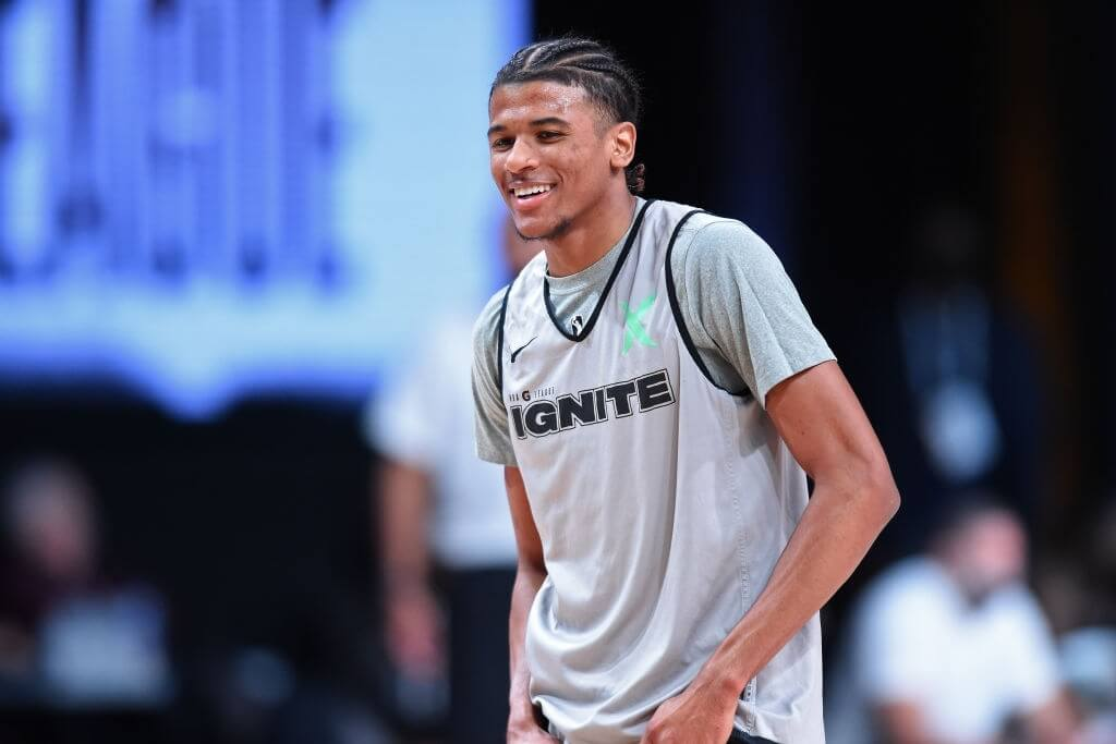 Jalen Green #4 of Team Ignite smiles during practice on February 8, 2021 at AdventHealth Arena in Orlando, Florida.