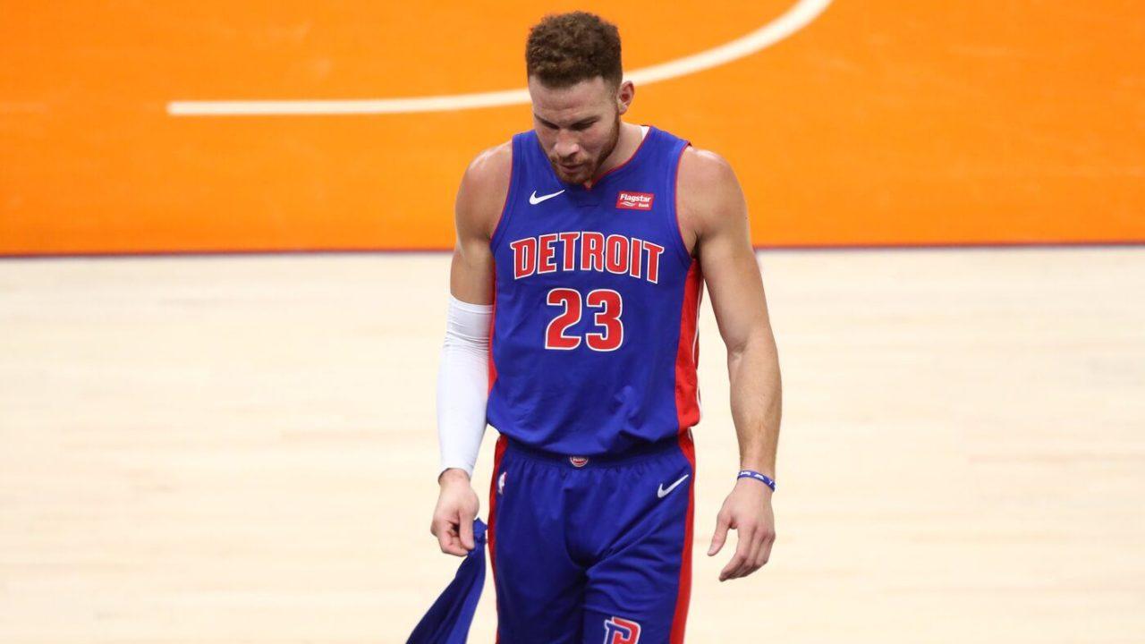 Feb 5, 2021; Phoenix, Arizona, USA; Detroit Pistons forward Blake Griffin (23) reacts against the Phoenix Suns at Phoenix Suns Arena. Mandatory Credit: Mark J. Rebilas-USA TODAY Sports